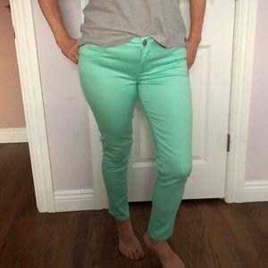 Mint color jeans